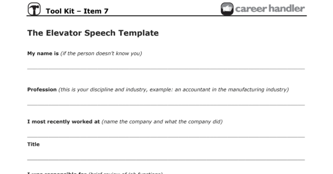 Item 7 - The Elevator Pitch Template
