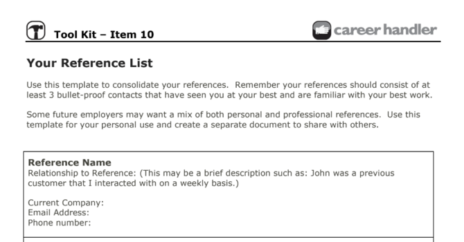 Item 10 - Your Reference List