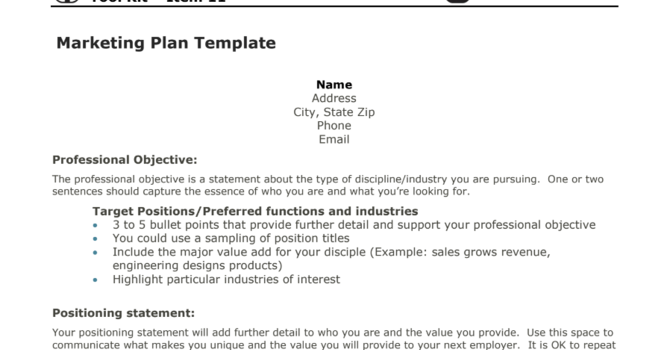 Item 11 - The Marketing Plan Template