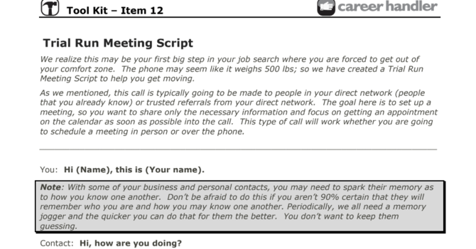 Item 12 - The Trial Run Meeting Script