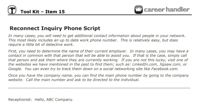 Item 15 - Reconnect Inquiry Phone Script