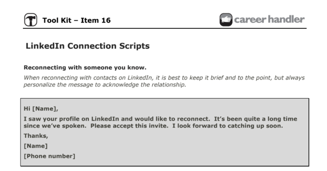 Item 16 - LinkedIn Connection Scripts