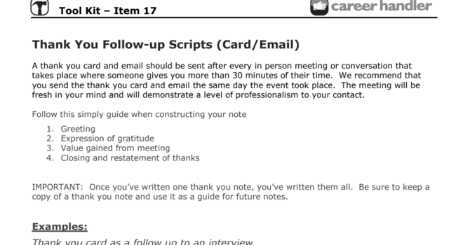 Item 17 - Thank You Follow Up Scripts